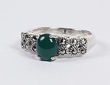 SILVER RING WITH MARCASITE AND JADE - The silver mounting, stamped