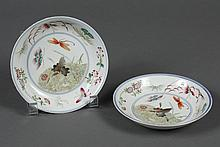 PAIR CHINESE PORCELAIN SAUCERS WITH BUTTERFLIES - Decorated with a variety of fanciful butterflies, some with folded wings and some...