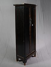 TALL CABINET - Chinese style pine with double door configuration, interior shelving and ebonized finish. Condition good. 20th century.