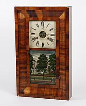BREWSTER AND INGRAHAMS WALL CLOCK - Having a mahogany veneer case with a reverse painted scene of architecture and promenading coupl...
