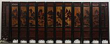 CHINESE 12 PANEL SCREEN - Late 18th, early 19th century. Narrow wood panels are painted with figures in landscape scenes. Several se...
