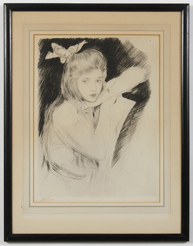 PAUL CÉSAR HELLEU (1859-1927, France) ETCHING ON PAPER - Signed in red pencil, lower left