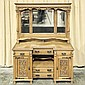 ANTIQUE ENGLISH OAK SIDEBOARD - Tall mirrored back, straight crown molding, Art Nouveau upper frieze with central 'Green Man' decora.