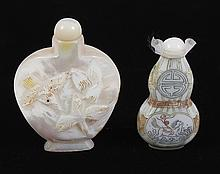 2 MOTHER-OF-PEARL SNUFF BOTTLES - Chinese. Larger bottle's front shows a relief-carved bird at a shrub; rounded leaves on back. Smal..