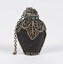 BLACK HORN SNUFF BOTTLE - With spoon; adorned with blue and red stones, possibly turquoise and coral