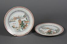 PAIR CHINESE PORCELAIN PLATES WITH LANDSCAPE SCENES - Shows a panoramic landscape having interspersed figures among architecture, wa...