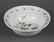 LARGE CHINESE CERAMIC BASIN - Glazed off-white, showing crested bird perched on plum blossom branch above red peonies. Rim flared, w...