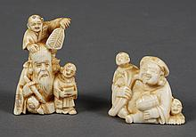 TWO CARVED IVORY NETSUKE - Representing two of the Japanese 7 Lucky Gods. One portrays Fukurokuju, God of Longevity, in the presence...