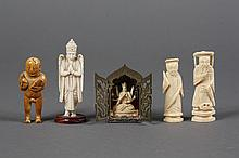 FIVE SMALL IVORY FIGURES, ONE IN MINIATURE SHRINE - Figures are of Garuda, Hindu deity with eagle wings and beak; two scholars of si...