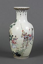 CHINESE PORCELAIN VASE WITH FIGURES - Ovoid form with a cylinder neck and flared mouth rim; decorated with a figural scene portrayin...
