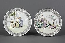 PAIR OF CHINESE PORCELAIN HANGING PLATES - Portraying three of the Eight Immortals with their attributes; Li TieGuo, Zhang GuoLao, C...