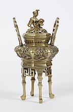 CHINESE BRASS CENSER WITH FU DOG FINIAL - Four legged censer with detachable handles and pierced cover with Fu Dog finial. Apparentl...