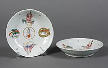PAIR CHINESE PORCELAIN PLATES/BOWLS - Having symbolic meaning with scholarly figures, a wrapped box of books and a tied sack; inters...