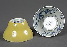 PAIR OF CHINESE PORCELAIN YELLOW GLAZED CUPS - Exterior yellow glaze with a B/W interior depicting dragons and fire symbols. The fla...