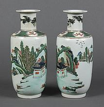PAIR CHINESE FAMILLE VERTE PORCELAIN VASES - Rouleau shape with a short straight neck and extended lip rim. A continuous landscape...