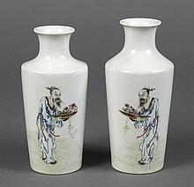 PAIR PORCELAIN CHINESE VASES - Straight sided cylindrical vases with a short neck and high shoulder line. Decorated with the figure...