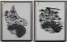 TWO ELEPHANT SKIN CUT-OUTS OF HINDU MYTHOLOGICAL FIGURES - Indonesian art form portrayals of mythological Hindu figures through the ...