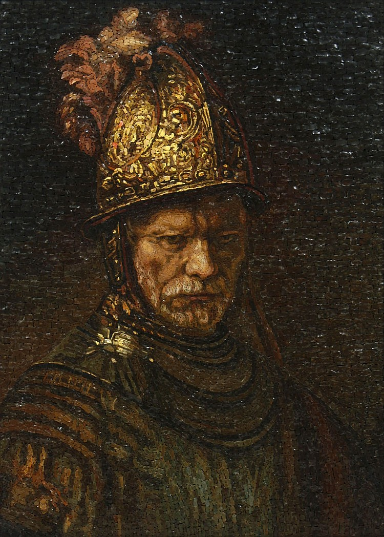 ITALIAN MOSAIC PLAQUE: MAN WITH THE GOLDEN HELMET - Commanding large scale tesserae stone mosaic after The Man with the Golden Helmet
