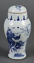 CHINESE PORCELAIN GALLIPOT WITH COVER - Blue and white, decorated with an Immortal on a deer and an emaciated man set against landsc...