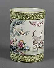 CHINESE PORCELAIN FAMILLE ROSE BRUSH HOLDER - Decorated with cranes and a pair of Birds of Paradise, flowers, pine branches and call...
