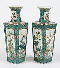 PAIR OF CHINESE PORCELAIN FAMILLE VERTE VASES - Square shaped body with each panel decorated in assorted flowers, bamboo and lotus r...