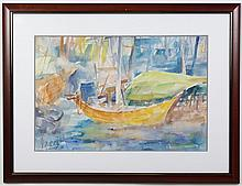 JIAN QUN BAO (1958- , China) WATERCOLOR PAINTING ON PAPER - Signed painting of colorful harbor scene with small boat and piers