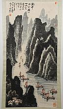 CHINESE SCROLL: WATERCOLOR ON PAPER - Marked with artist seal, this scroll depicts a landscape with mountains, a river and sailboats...