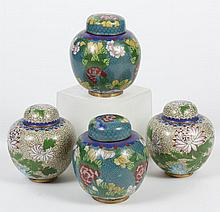 FOUR CHINESE CLOISONNE GINGER JARS - Two pair of ginger jars; one set with cream ground and vine and floral design; the other set wi...