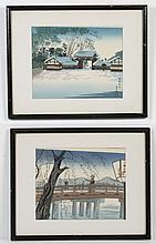 TOKURIKI TOMIKICHIRO (1902-2000, Japan) TWO WOODBLOCKS ON PAPER - The two unsigned woodblocks picture the Sanjo Bridge and Kyoto Gosho