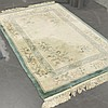 CARPET: HAND-KNOTTED VINTAGE CHINESE - Chinese sculptured style with cream field, floral accents and floral design border, with teal...