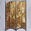 FOUR PANEL FOLDING SCREEN - Chinese black lacquer with gilt depictions of wise men and alchemists in the antique style on a gold gro...