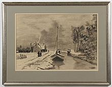 W. RENSE CHARCOAL - Signed, lower right. Charcoal drawing on paper of winter scene with small boat, bridge and cottages. Condition g...