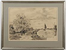 W. RENSE CHARCOAL - Drawing on paper, signed lower left, showing a summer scene with a river bank, figures and a boat. Condition goo...