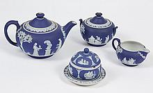 WEDGWOOD JASPERWARE TEA SET- Four items, all slug marked