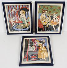 CARLOS BADY (France) THREE PRINTS - Three pochoir prints on paper. Plate signed and titled: