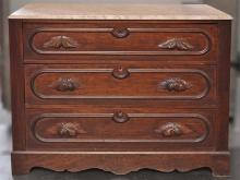 GENTLEMAN'S DRESSER/BUTLER'S DESK - Antique American three drawer walnut with shaped edge marble top, foliate carved drawer pulls, a.