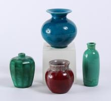 4 PC SMALL CERAMIC AND GLASS TO INCLUDE LITHYALIN BOTTLE - Two round stoneware vases: one a deep turquoise with flared rim, 4