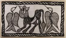 ANIMAL SCENE (SMALL) - Embroidered black and white composition of 3 stylized animals in a geometric border