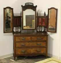 ANTIQUE VICTORIAN DRESSING STAND - Mahogany with central cheval mirror and two swing-out adjustable side mirrors