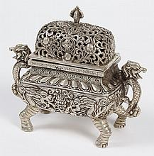 CHINESE MIXED METAL CENSER - Bronze with silver alloy; having a rectangular shape and silvered exterior with stylized dragon handles...
