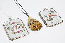 THREE PIECES HAND-PAINTED ASIAN JEWELRY - Two ceramic plaques, each hand-painted, and a teardrop shape pendant on chain. All three p...