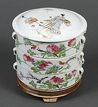 CHINESE PORCELAIN THREE PART STACKING FOOD BOX - Decorated with several of the Immortals, song birds and flowers. Two sets of small...