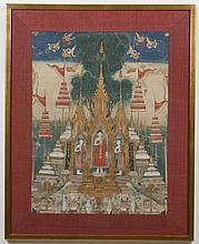 GOUACHE PAINTING ON PAPER - Unsigned painting with highlights painted in gold of figures near temples, likely Thai. Condition good t...