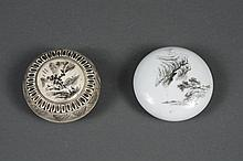 TWO CHINESE INK BOXES - One is porcelain having a hand painted mountain scene with seal to base. The second is ivory, artist signed,...
