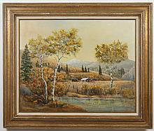 WILL JACOBSON SIGNED OIL ON CANVAS - Landscape painting with birch trees, a pond and mountains