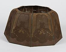 ARTS AND CRAFTS METAL MESH SHADE - Octagonal shade with Arts and Crafts style design in shades of brown. Unmarked. Condition good no...