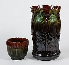 VINTAGE AMERICAN ART POTTERY UMBRELLA STAND AND JARDINIERE - Both have a green and brown majolica style glaze with molded design