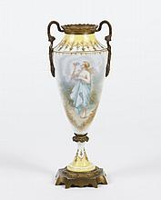 SINGLE SEVRES STYLE PORCELAIN URN - Mounted gilt bronze urn with painted scenes of a muse holding a flower and of a mandolin and she...