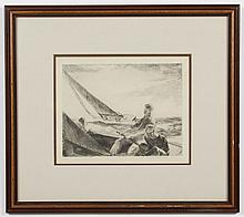 YNGVE EDWARD SODERBERG (1896-1971, USA) ETCHING ON PAPER - Pencil signed, lower right. Depicts three men in a sailboat.