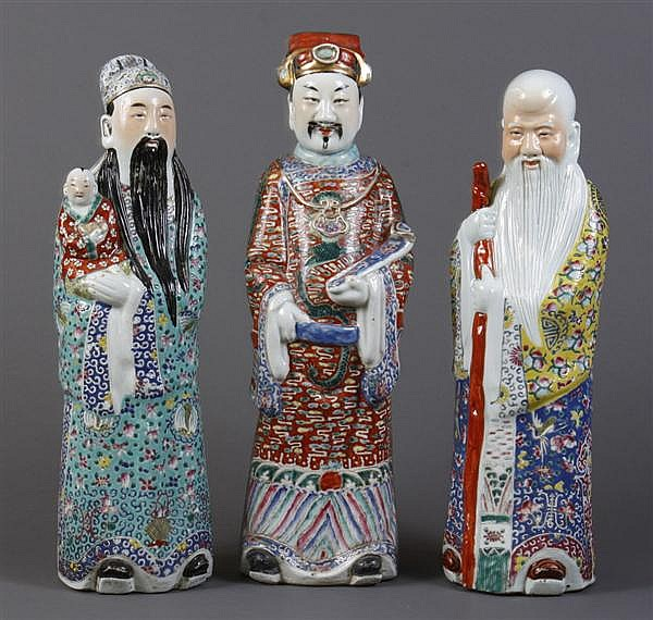 THREE CHINESE HOUSEHOLD GODS - The three most important household gods of China, Sau, Fuk and Luk representing respectively longevit...